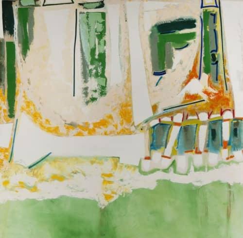 Paintings by Ralph Du Casse seen at Mills College Art Museum, Oakland - Courtyard of Noo