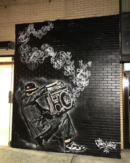 Street Murals by Nick Walker seen at Lafayette Street, SOHO, New York - Boom Box Mural