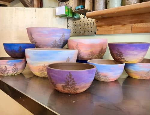 Sunsets in Mixing Bowls   Tableware by Honey Bee Hill Ceramics   Honey Bee Hill Ceramics in Rockport