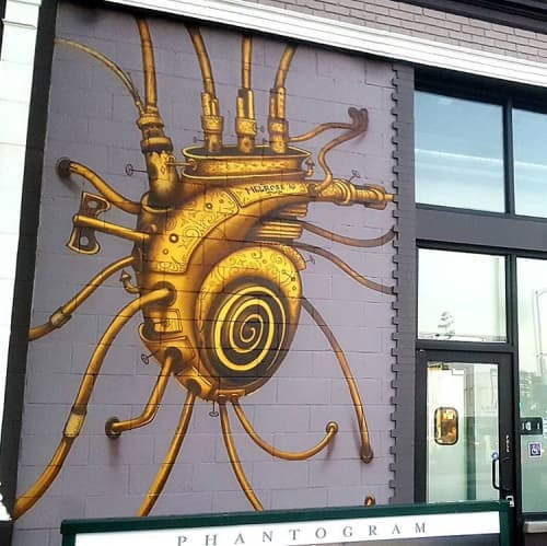 Murals by Hans Haveron seen at Burgerim, Los Angeles - Golden Heart Mural