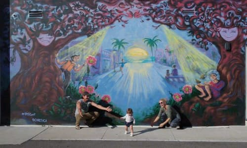 Street Murals by Careth Christine seen at Rosemary Lane, Sarasota - 'Theater of Life'