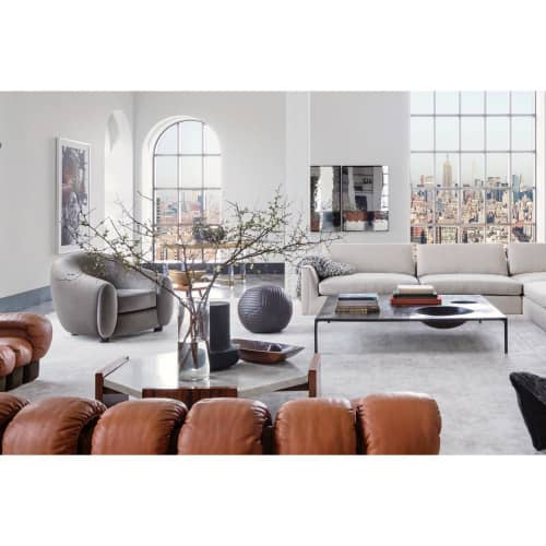 Banded Queen Leather Ball Ottoman   Benches & Ottomans by Moses Nadel   One Hundred Barclay Condominiums in New York