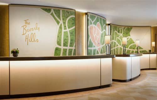 The Beverly Hills Hotel Reception Paintings | Murals by Paulin Paris Studio | The Beverly Hills Hotel in Beverly Hills