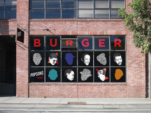 Window Display | Murals by Ian Johnson | Popson's Burgers in San Francisco