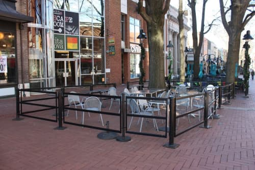 Sculptures by Lily Erb seen at Vita Nova New York Style Pizza & Restaurant, Charlottesville - Fence