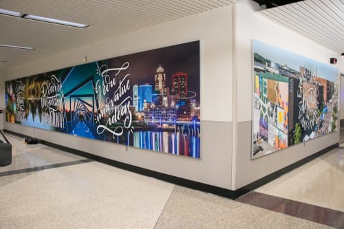 Des Moines International Airport Digital Mural   Murals by Jenna Brownlee   Des Moines International Airport in Des Moines
