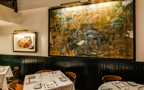 Paintings by Robert Kushner seen at Union Square Café, New York - Painting