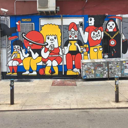 Murals by Sonni seen at Kiki's, New York - Subway Scene Mural