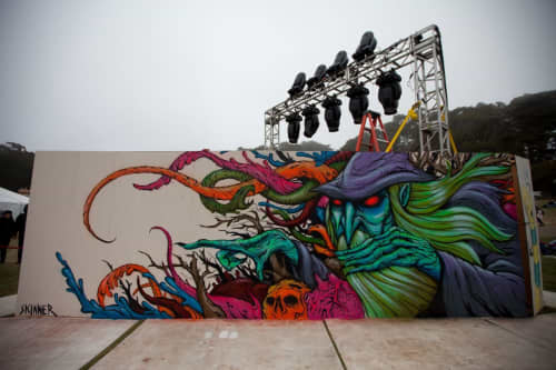 Street Murals by Skinner seen at Outside Landscape Design, Los Angeles - Witch