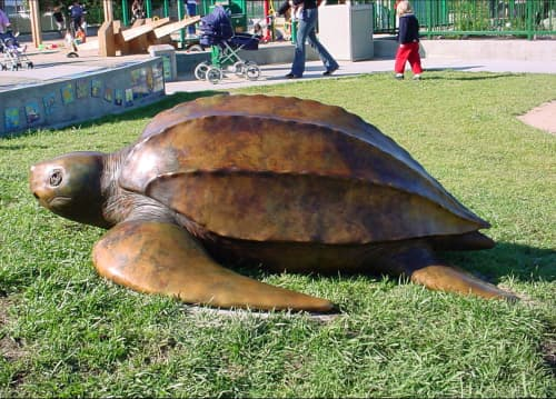 Sculptures by Johnathan Roberson Beery seen at Moscone Recreation Center, San Francisco - Bronze Leatherback Turtle at Moscone Park