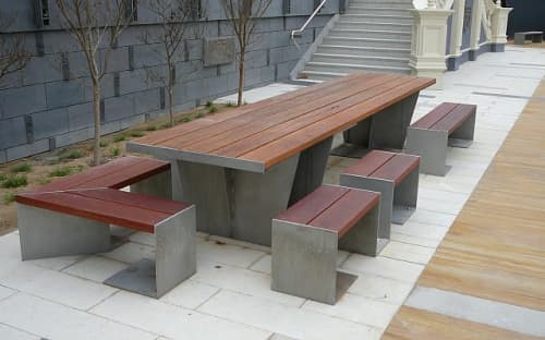 Tables by Andrew Gibbs seen at St Kilda Town Hall, St Kilda - Table and benches