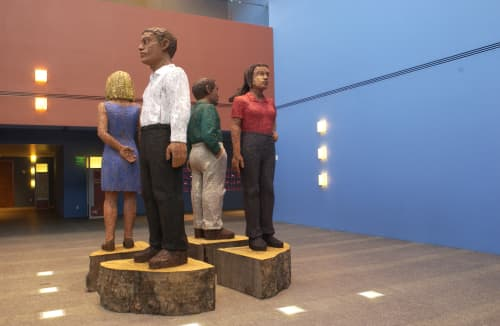 Sculptures by Stephan Balkenhol at UCSF Medical Center at Mission Bay, San Francisco - Four Large Figures