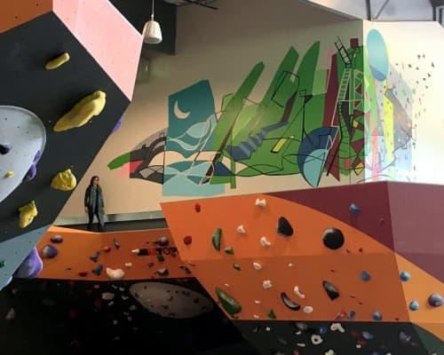 Murals by Sandy Litchfield seen at EVO Rock + Fitness, Louisville, Louisville - Onward and Upward