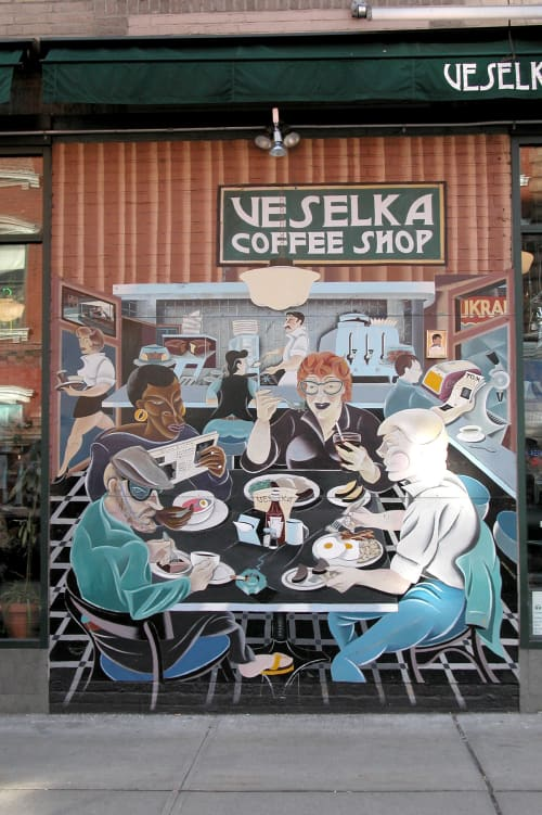 Luncheonette Life   Murals by Arnie Charnick   Veselka in New York