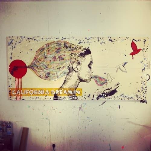 "California Dreamin, ""California Dreams"" Series   Murals by KfiSH   Justice Urban Tavern in Los Angeles"