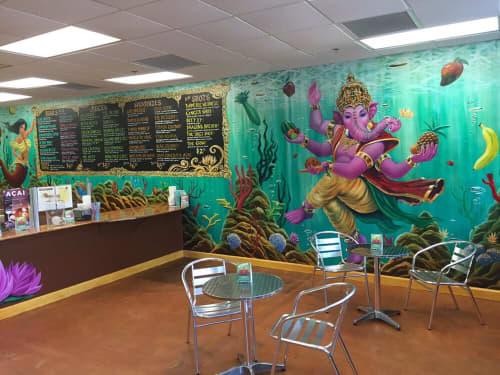 Murals by Michael Pukac seen at Tru Nature Juice Bar, Ocoee - Elephant Mural