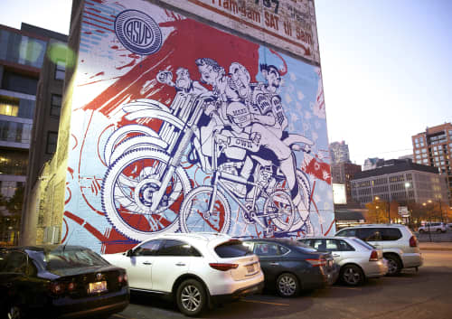 Murals by ASVP at Wabash Arts Corridor, Chicago - Make Your Own Luck (BMX / Haro Tribute)