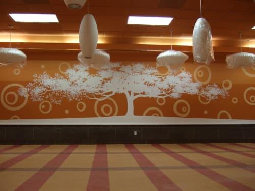 White Silhouette Bonsai | Murals by Artisan Rooms | Tenderloin Family Apartments Community Room San Francisco in San Francisco