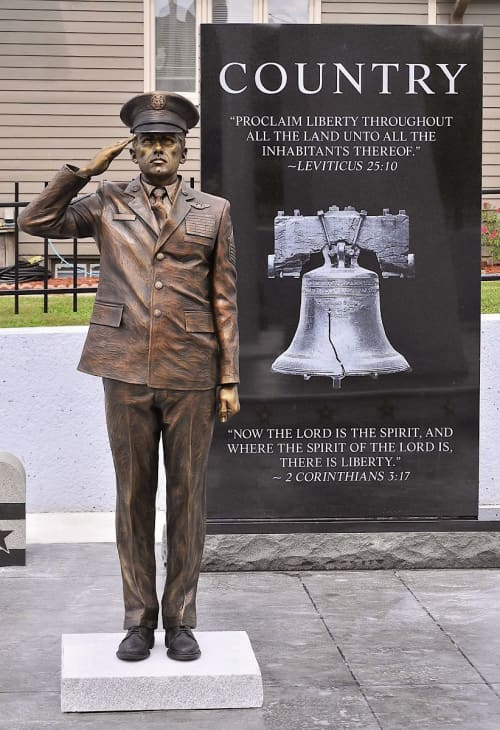 Public Sculptures by Sutton Betti seen at West Point, West Point - Saluting Soldier Statue