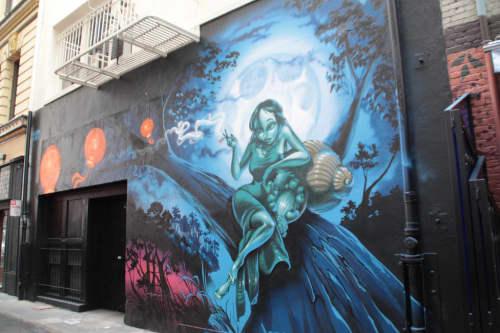 Murals by MEAR ONE  (Kalen Ockerman) seen at Gitane, San Francisco - Mural: The Moon Maiden