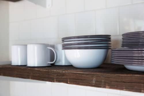 Tableware by Crow Canyon Home seen at The Joshua Tree Casita, Joshua Tree - Black-and-White Enamelware