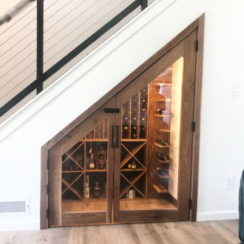Interior Design by Pax Woodworking - Custom Walnut Wine Cellar