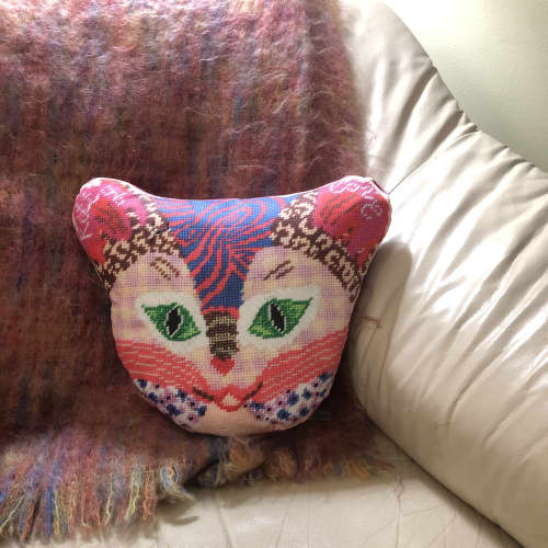 Pillows by Mommani Threads seen at Private Residence, Boone - KITTY LOVE organic cotton sateen sculpted pillow/custom made