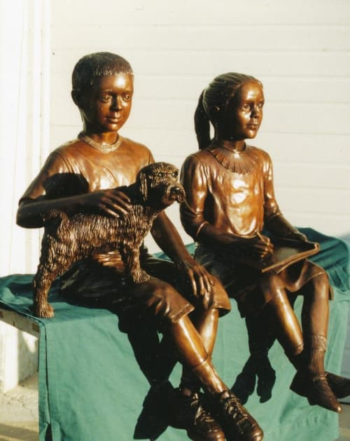 Patrick and Christina with Ozzie   Public Sculptures by Don Begg / Studio West Bronze Foundry & Art Gallery