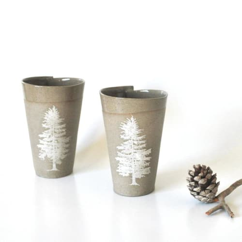 Gray Tree Mugs Set of 2 | Cups by ShellyClayspot