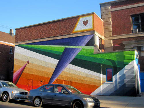 Murals by Chris Silva seen at Yollocalli Arts Reach, South Ridgeway Avenue, Chicago, IL, Chicago - With All Our Might