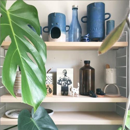 Vases & Vessels by Atelier Stella Ceramics - Lena' Oil Burner + Tall blue tripod vase