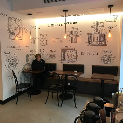 Custom signage and mural | Murals by Very Fine Signs | Black Press Coffee in New York