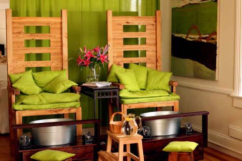 Chairs by Studio Moe seen at Koru Eco Spa - Block Island Massage, New Shoreham - Cedar Pedi Thrones