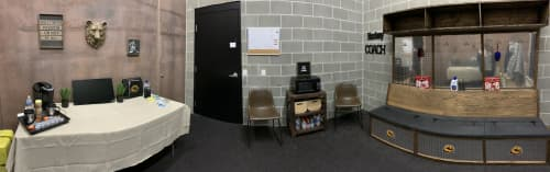 Hockey Locker Room Stalls, painting and coaches space   Interior Design by Sweet De'sign   Lake of the Woods High School in Baudette