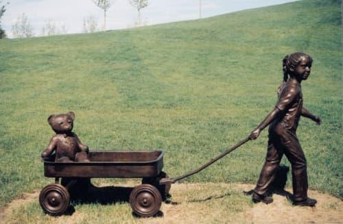 Annie & Teddie - Copperfield   Public Sculptures by Don Begg / Studio West Bronze Foundry & Art Gallery