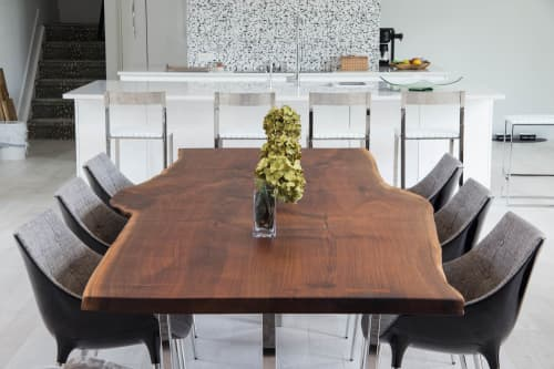 Tables by RE-CO BKLYN seen at Private Residence in Marlboro Township, NJ, Marlboro Township - Live Edge Black Walnut Table