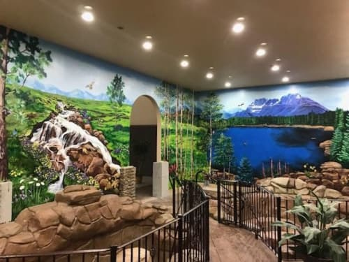 Murals by Mural Art Designs seen at Black Forest by Wedgewood Weddings, Colorado Springs - Landscape mural