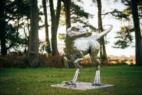 Velociraptor sculpture for the interior of a private home   Interior Design by Michael Turner Studios