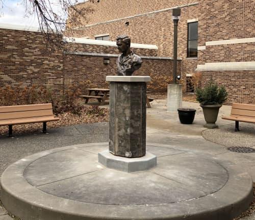 Public Sculptures by Alec M. Smith seen at Cretin-Derham Hall High School, Saint Paul - Brother James Alfred Miller, FSC