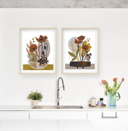 Paintings by Birdsong Prints seen at Creator's Studio, Denver - Set of 2 Floral Art Prints, Poppies Art