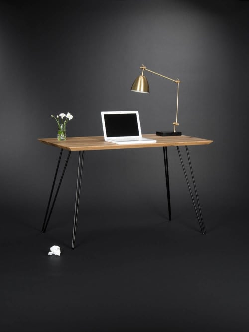 Solid wooden desk, modern table with metal hairpin legs | Tables by Mo Woodwork | Stalowa Wola in Stalowa Wola