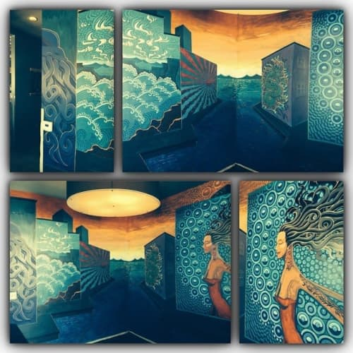 Breaking Through | Murals by Justin Queal | Squid Ink Sushi Bar - Peoria in Peoria