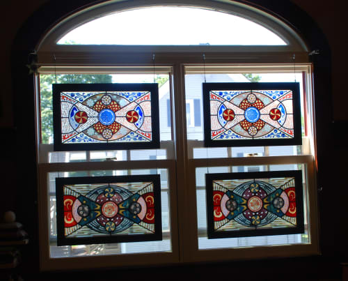 Sandblasted stained glass panels | Art & Wall Decor by Kate Gakenheimer Stained Glass