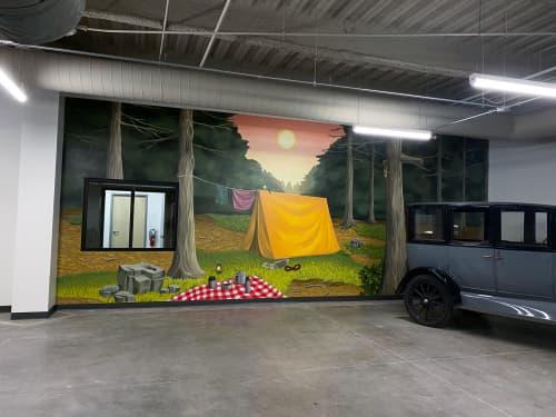 Camping Scene   Murals by Ali Hval   Antique Car Museum of Iowa in Coralville