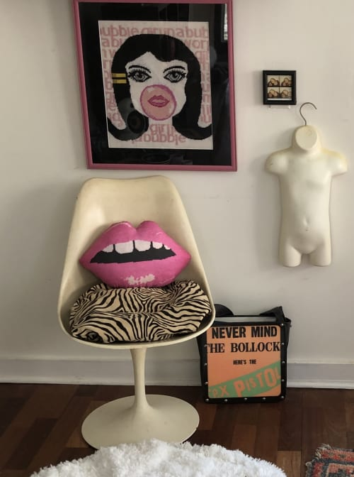 Pillows by Mommani Threads seen at Creator's Studio, Blowing Rock - pink EMBRASSE MOI sculpted lips cotton sateen pillow