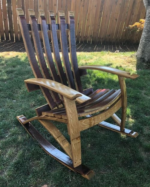 Wine Barrel Rocking Chair   Chairs by RAW Woodworks