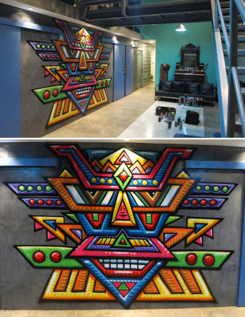 Murals by Chris Dyer seen at Beach House in Lima, Peru - Galaktic Shaman