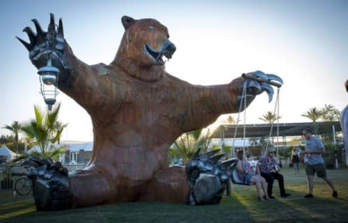 """Public Sculptures by Don Kennell seen at Shady Lane Park, Coachella - """"Big Bear"""""""