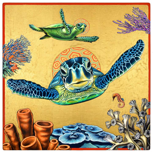 """Paintings by Peter D. Gerakaris Studio seen at Private Residence, Fairfax - """"Turtle Icon"""""""