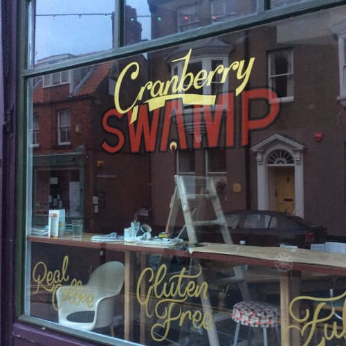 Cranberry Swamp Window Lettering | Signage by Journeyman Signs (TATCH) | Cranberry Swamp in Whitby